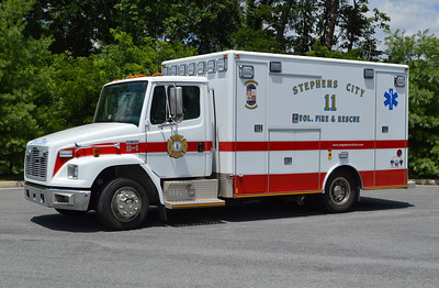 Stephens City 11-1 was originally in service at Dulles Airport in Virginia and painted lime green.  Stephens City purchased the ambulance from the airport and ran it many years in the lime green color.  In 2015, the department upgraded the warning lights and painted the 2000 Freightliner 60/Medic Master to the Stephen City EMS colors of white with red stripes.
