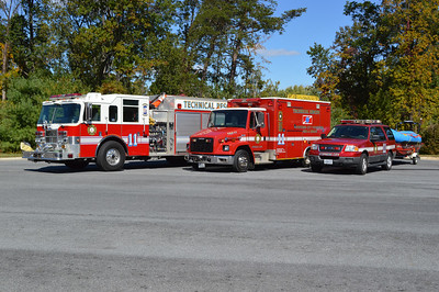 In October of 2014, I had the opportunity to photograph the apparatus that make up the Stephens City Technical Rescue Team.  From left to right is Wagon 11, a 2002 Pierce Dash, TRS-11, a 1998 Freightliner 60/Medic Master (also towing a Boat 11 which cannot be seen), and SERV 11 towing Boat 11-1 and Otter 11.