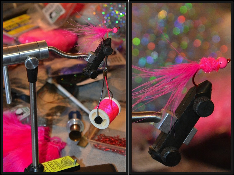 Tied some new steelhead patterns.  Steelhead love pink!  <br /> <br /> Wildwood, Oregon.  (2013)
