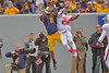 OCTOBER 19 - MORGANTOWN, WV: WVU wide receiver Kevin White (11) leaps to try to catch a pass in the end zone during the Big 12 football game October 19, 2013 in Morgantown, WV.