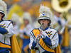 OCTOBER 19 - MORGANTOWN, WV: A clarinet player in the Pride of West Virginia marching band performs prior to the Big 12 football game October 19, 2013 in Morgantown, WV.