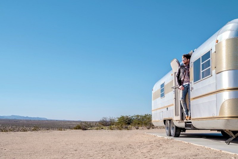 Pink Satellite Studios  🌵🕶️ Adam Lambert's future is so bright he's got to wear shades as he takes in the view from the vintage Silver Streak trailer