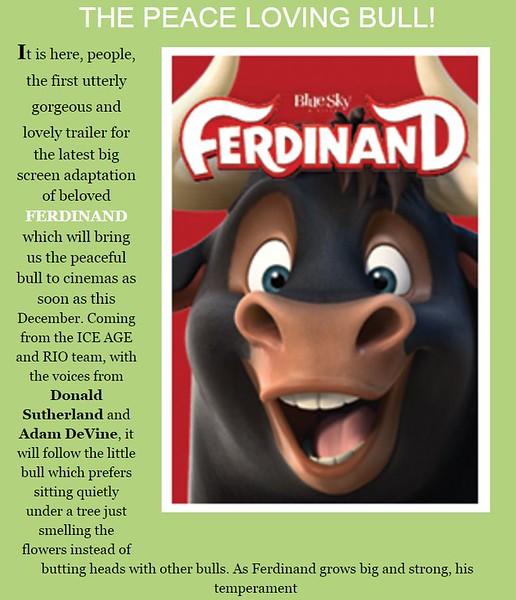 'FERDINAND' TRAILER THE PEACE LOVING BULL!