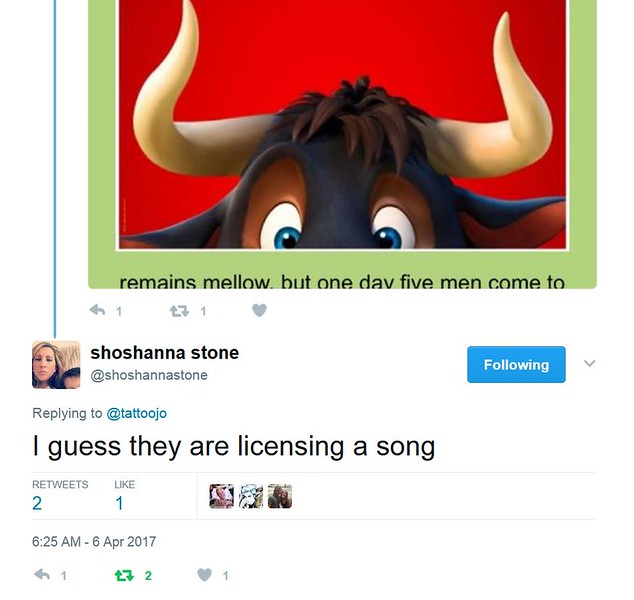 shoshanna stone @shoshannastone Replying to @tattoojo  I guess they are licensing a song