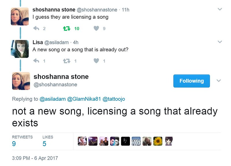 shoshanna stone‏  @shoshannastone  Replying to @asiladam @GlamNika81 @tattoojo not a new song, licensing a song that already exists