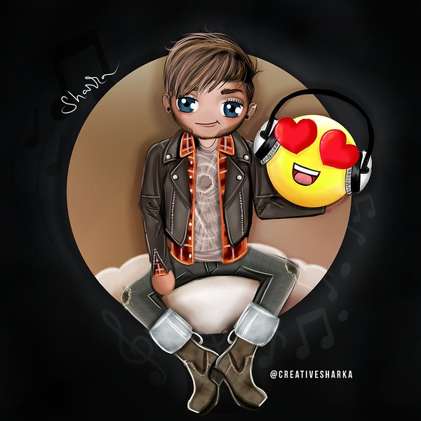"😍 Adam Lambert chibi by @creativesharka  ""NEW MUSIC"" 🎧"