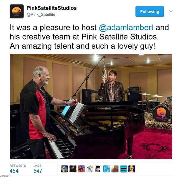 PinkSatelliteStudios @Pink_Satellite  It was a pleasure to host @adamlambert and his creative team at Pink Satellite Studios.  An amazing talent and such a lovely guy!
