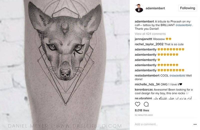 "٩(⁎❛ᴥ❛⁎)۶  Adam Lambert's April 5 Instagram:  ""A tribute to Pharaoh on my calf--- tattoo by the BRILLIANT @dasleitbild . Thank you Daniel!"""