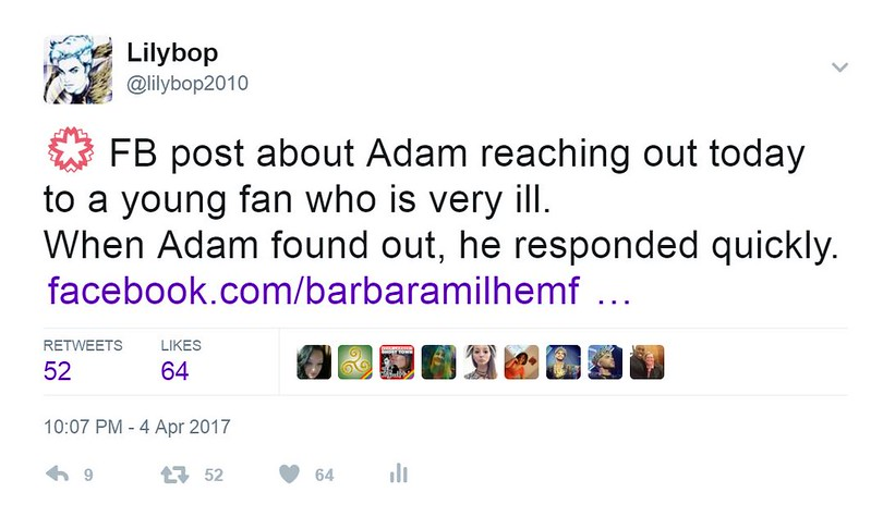 💮 FB post about Adam reaching out today to a young fan who is very ill. When Adam found out, he responded quickly.