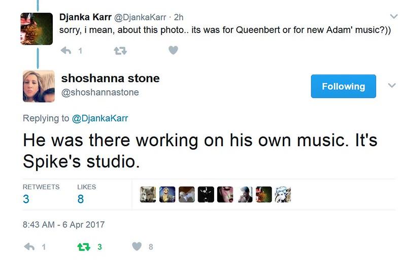 shoshanna stone @shoshannastone Replying to @DjankaKarr  He was there working on his own music. It's Spike's studio.