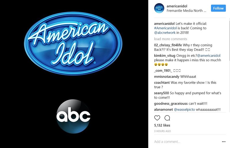 May 9  Adam Liked - americanidol  Let's make it official: #AmericanIdol is back! Coming to @abcnetwork in 2018!