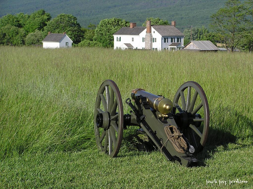 Confederate artillery looking north toward the Bushong farm.