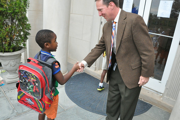 Lower School Handshakes on Opening Day