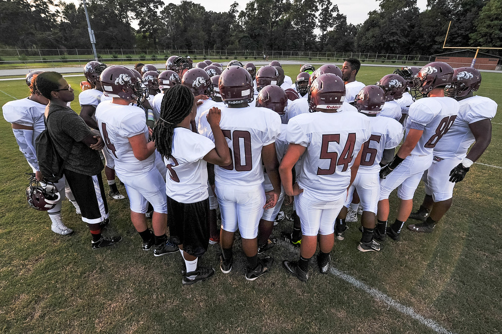 Nash Central gets ready for tonights game. Tarboro defeats Nash Central 33-6 in the season opener. Friday August 22, 2014 in Tarboro, NC (Photos By Anthony Barham)