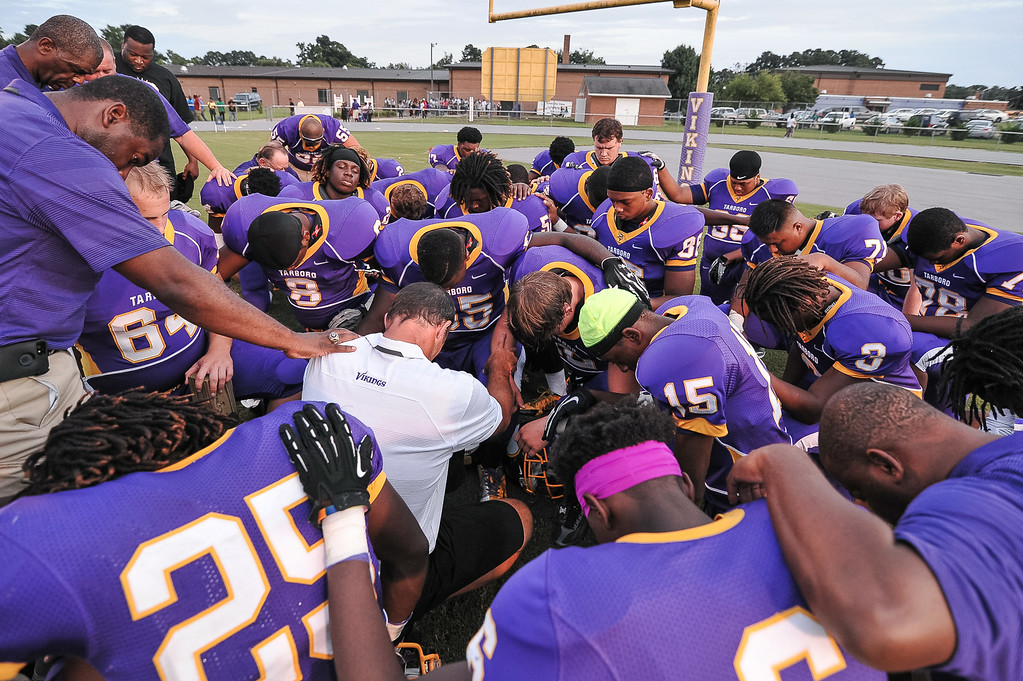 Tarboro gets ready for tonights game. Tarboro defeats Nash Central <br /> 33-6 in the season opener. Friday August 22, 2014 in Tarboro, NC (Photos By Anthony Barham)