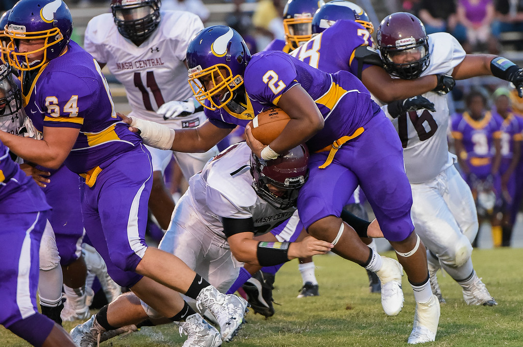 Tarboro Markese Clapp # 2 during tonights game.  Tarboro defeats Nash Central  33-6 in the season opener. Friday August 22, 2014 in Tarboro, NC (Photos By Anthony Barham)