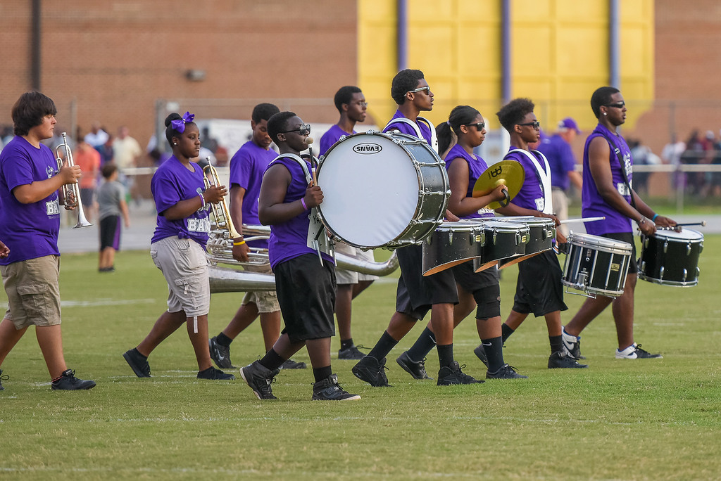 Tarboro's Marching Band during tonights game. Tarboro defeats Nash Central 33-6 in the season opener. Friday August 22, 2014 in Tarboro, NC (Photos By Anthony Barham)