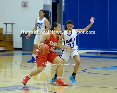 12-18-14 Moanalua Na Menehune Varsity Girls Basketball vs Kahuku Red Raiders ( 40-25).