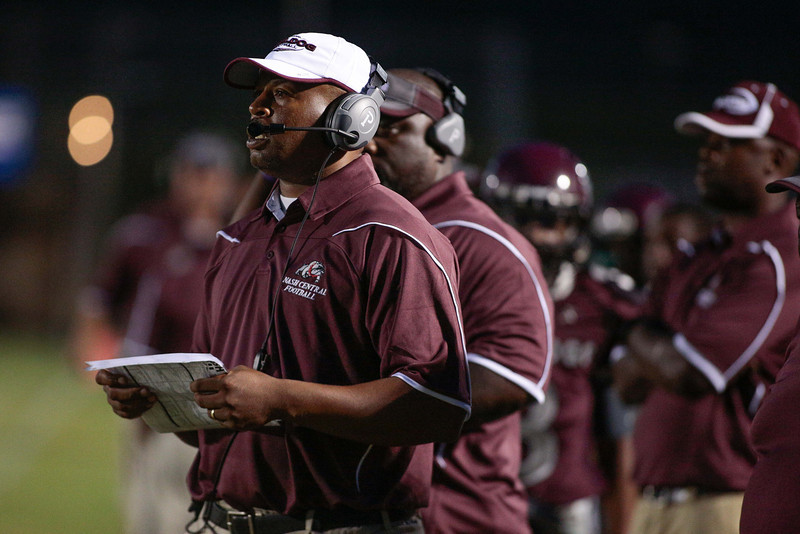 Nash Central coach looks on during tonights game. Tarboro Vikings defeat Nash Central Friday Night Aug, 23 2013. (Photo By Anthony Barham)
