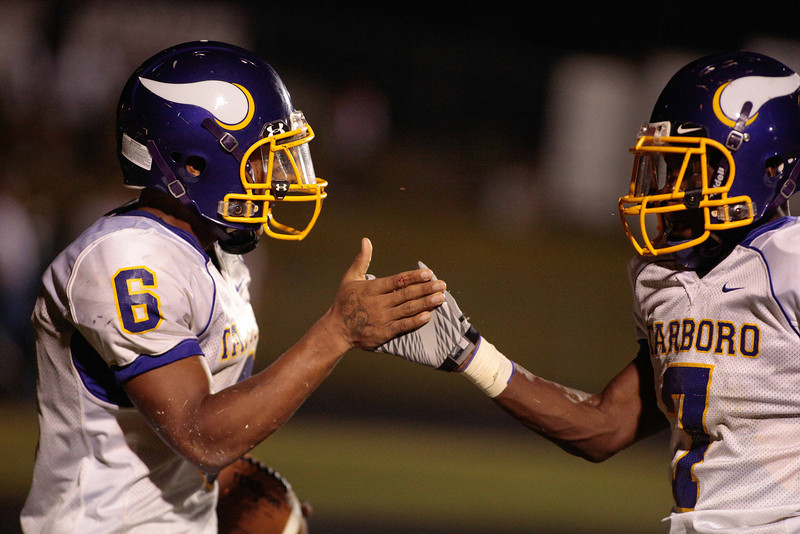 Tarboro Radja Bobbitt (6) celebrates in the end zone during tonights game. Tarboro Vikings defeat Nash Central Friday Night Aug, 23 2013. (Photo By Anthony Barham)