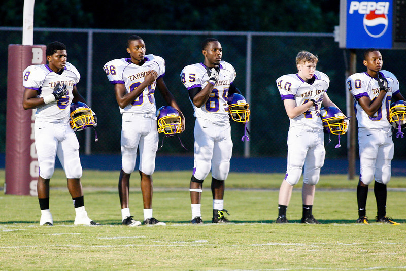 Tarboro gets ready for tonights game. Tarboro Vikings defeat Nash Central Friday Night Aug, 23 2013. (Photo By Anthony Barham)
