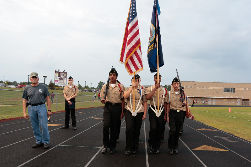 Nash Central color guard during tonights game. Tarboro Vikings defeat Nash Central Friday Night Aug, 23 2013. (Photo By Anthony Barham)