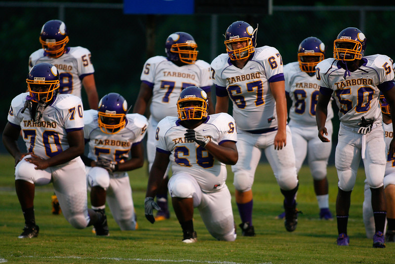 Tarboro warms up before tonights game. Tarboro Vikings defeat Nash Central Friday Night Aug, 23 2013. (Photo By Anthony Barham)