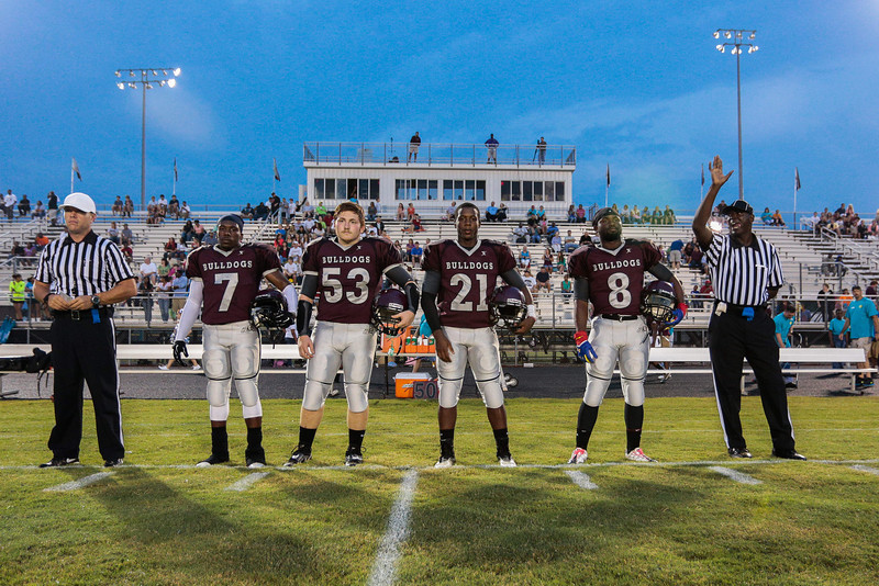 Nash Central team captins during tonights game. Tarboro Vikings defeat Nash Central Friday Night Aug, 23 2013. (Photo By Anthony Barham)