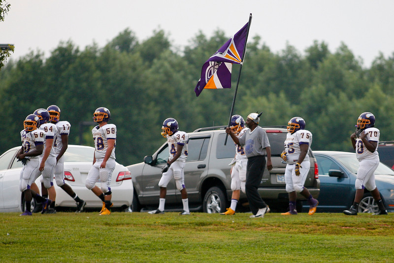 The Vikings get ready to take the field during tonights game. Tarboro Vikings defeat Nash Central Friday Night Aug, 23 2013. (Photo By Anthony Barham)