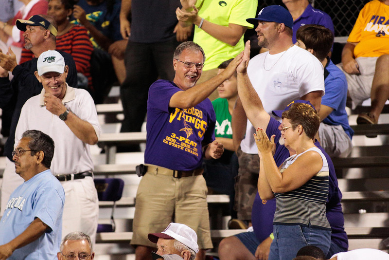 Tarboro fans celebrate after scoring anotherTD during tonights game. Tarboro Vikings defeat Nash Central Friday Night Aug, 23 2013. (Photo By Anthony Barham)