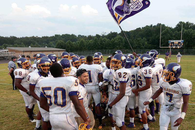 The Vikings get ready for tonights game. Tarboro Vikings defeat Nash Central Friday Night Aug, 23 2013. (Photo By Anthony Barham)
