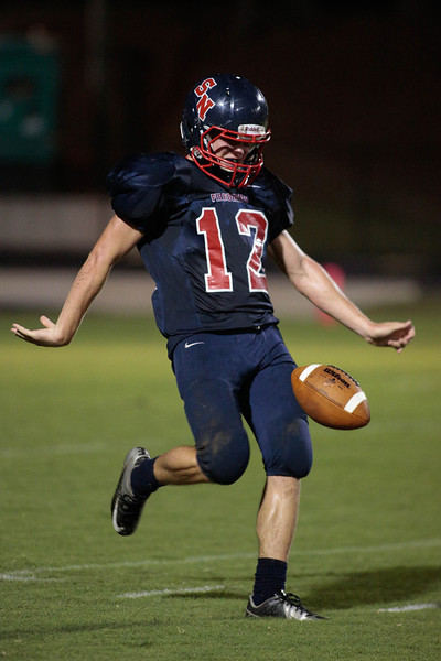 Southern Nash parker Kendall (12) drops back to punt during tonights game.Southern Nash defeats Southwest Edgecombe Friday Night Aug, 23 2013. (Photo By Anthony Barham)
