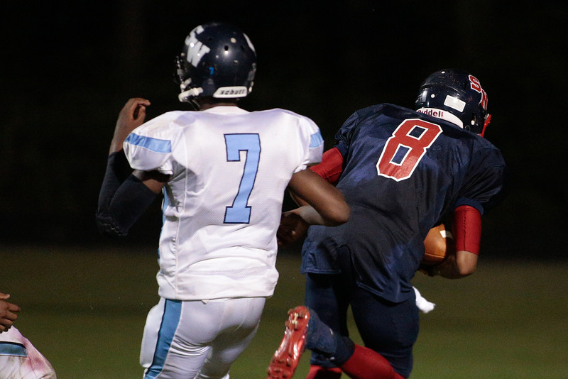 Southern Nash deans Tahj (8) during tonights game.Southern Nash defeats Southwest Edgecombe Friday Night Aug, 23 2013. (Photo By Anthony Barham)