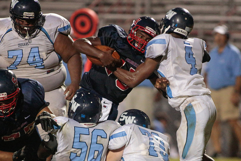 Southern Nash lavender Deon (15) during tonights game.Southern Nash defeats Southwest Edgecombe Friday Night Aug, 23 2013. (Photo By Anthony Barham)