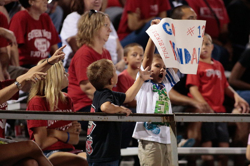 Southern Nash fans celebrate  during tonights game.Southern Nash defeats Southwest Edgecombe Friday Night Aug, 23 2013. (Photo By Anthony Barham)