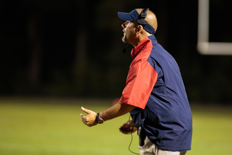 Southern Nash coach during tonights game.Southern Nash defeats Southwest Edgecombe Friday Night Aug, 23 2013. (Photo By Anthony Barham)