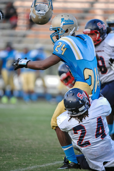 Beddingfield Keshai Lindsey #24 during tonights game. Beddingfield defeats Southern Nash 19-7 on Thursday night August 28, 2014 in Wilson NC (Photos By Anthony Barham)