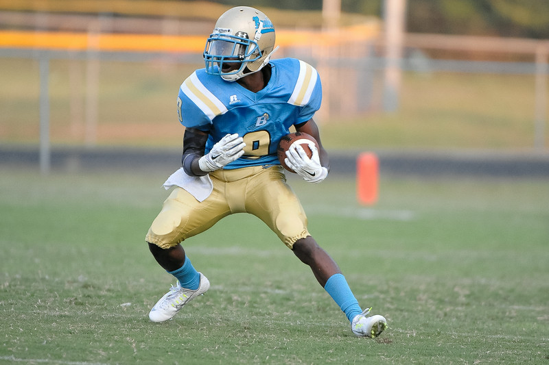 Beddingfield Jalan Davis # 9 during tonights game. Beddingfield defeats Southern Nash 19-7 on Thursday night August 28, 2014 in Wilson NC (Photos By Anthony Barham)