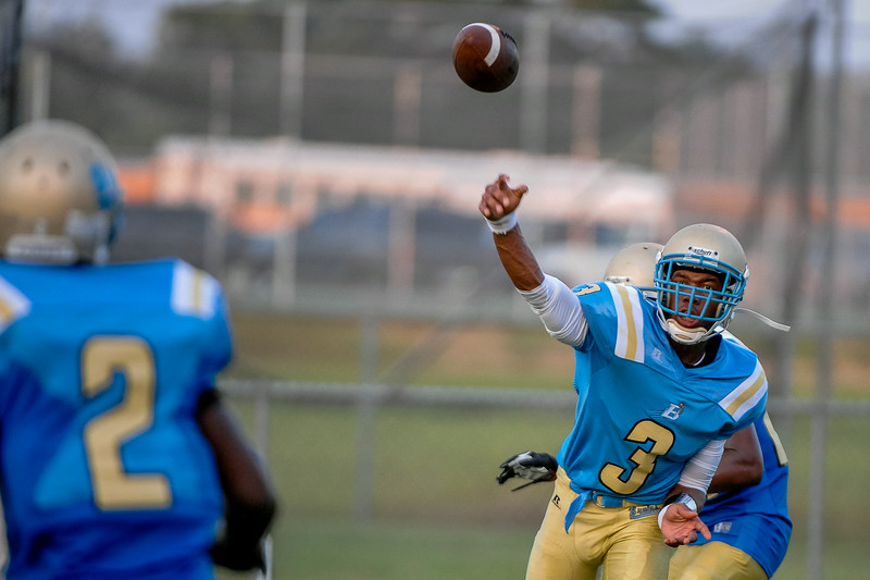 Beddingfield Kavajae Ellis #3 during  tonights game. Beddingfield defeats Southern Nash 19-7 on Thursday night August 28, 2014 in Wilson NC (Photos By Anthony Barham)