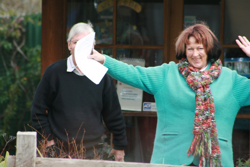 Ellen Engwerda demonstrates the right turn to husband Gerry