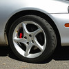 Ron's painted brake calipers (Gerry came over the day before and painted Ron's ... copped a lot of flack for showing off!