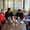 Ian, Gerry, Brian, Maree, Diedre & Peter at morning tea, Mt Beauty