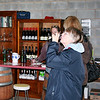 Marg samples a tipple at Amulet winery ...