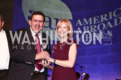 Mithat Bereket, Judy Woodruff. Photo by Tony Powell. America Abroad Dinner. Mellon Auditorium. October 28, 2015