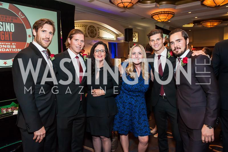 Brooks Laich, Nicklas Backstrom, Lisa de Cardona, Ellen Maurice, Andre Burakovskl, Marcus Johansson. Photo by Tony Powell. 2015 Capitals Casino Night. November 14, 2015