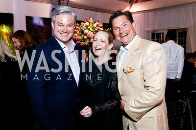 Mark Lowham, Tori Thomas, Joe Ruzzo. Photo by Tony Powell. 2015 CharityWorks 100 Point Wine Dinner. Leonsis Residence. April 25, 2015