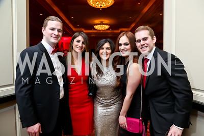 Chris Riley, Amy Wasserman, Jena Riley, Sami Albert, Jake Bender. Photo by Tony Powell. 2015 DC Heart Ball. Mandarin Oriental. February 28, 2015