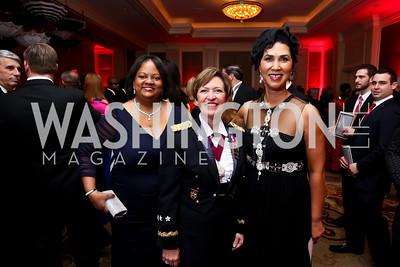 Former US Surgeon General Regina Benjamin, Army Surgeon General Lt. Gen. Patty Horoho, Board Chair Cheryl Campbell. Photo by Tony Powell. 2015 DC Heart Ball. Mandarin Oriental. February 28, 2015