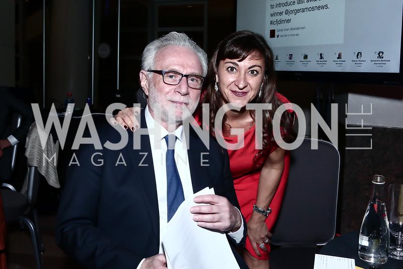 Wolf Blitzer, Photojournalist Lynsey Addario. Photo by Tony Powell. 2015 ICFJ Awards Dinner. Reagan Building. November 10, 2015