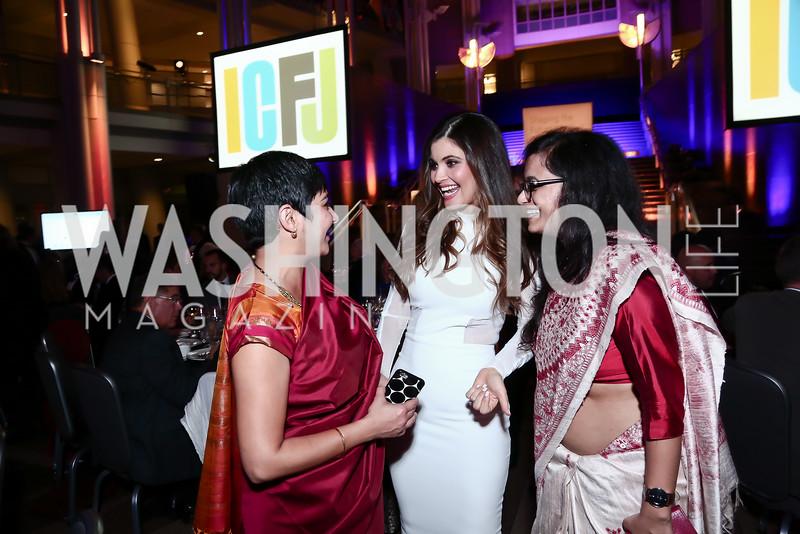 Amrita Ibrahim, María Chiquinquirá Delgado Díaz, Priyanka Dubey. Photo by Tony Powell. 2015 ICFJ Awards Dinner. Reagan Building. November 10, 2015